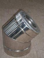Колено 45 градусов для дымохода из нержавеющей стали марки AISI 321 диаметром 120  толщиной 0,8 мм