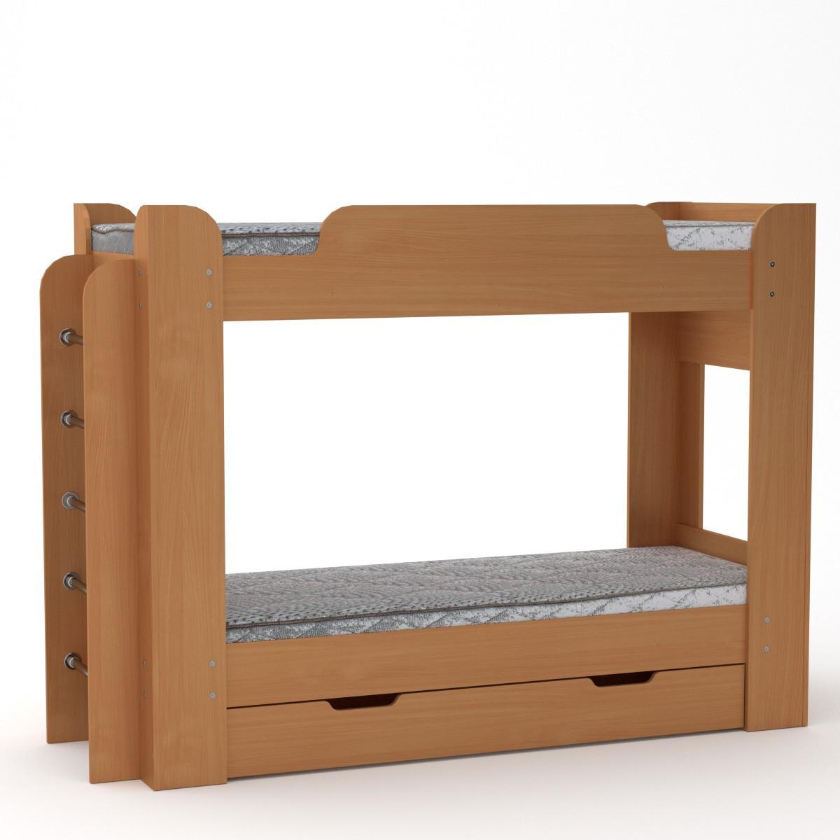 Кровать с матрасами двухъярусная Твикс бук Компанит