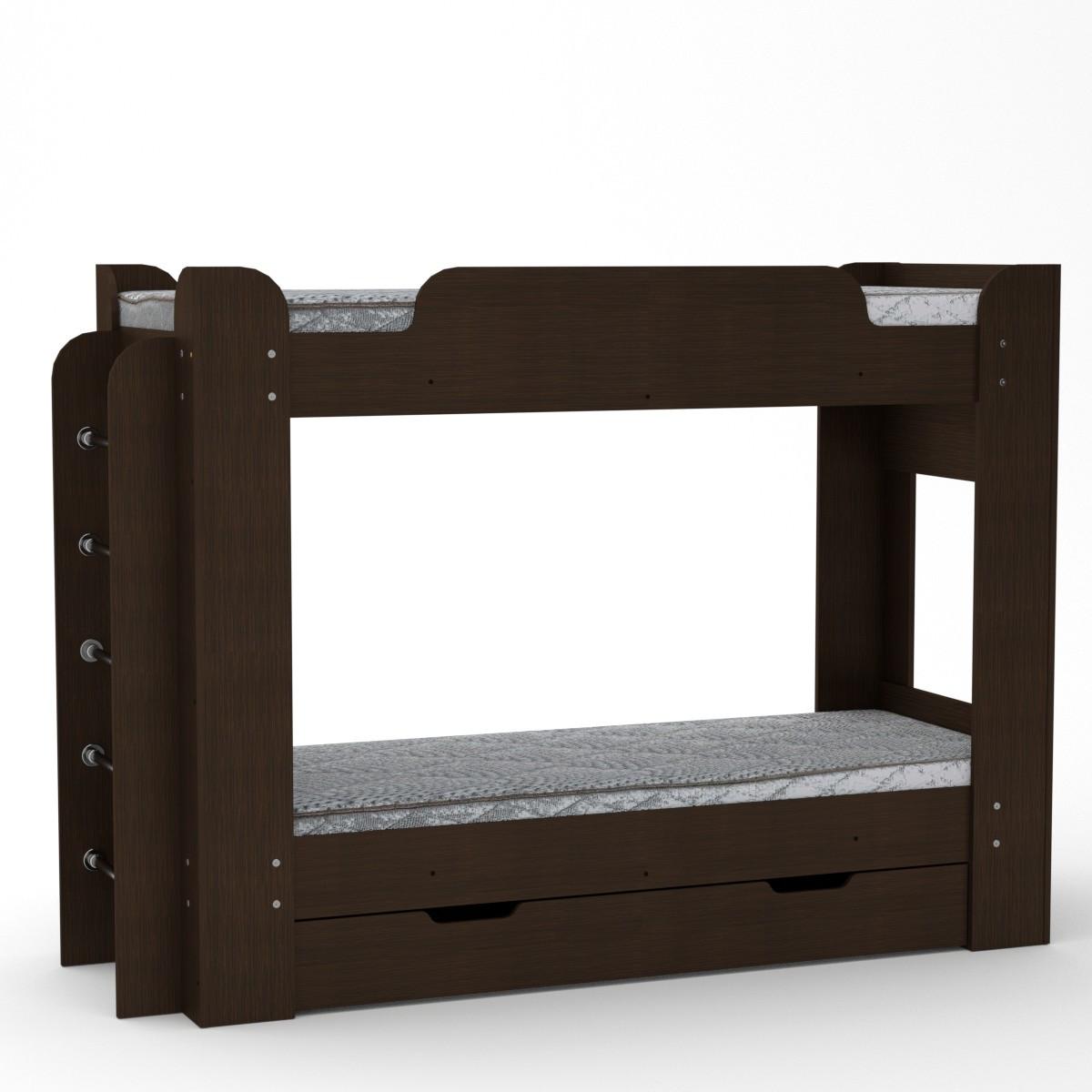 Кровать с матрасами двухъярусная Твикс венге темный Компанит