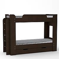 Кровать с матрасами двухъярусная Твикс венге темный Компанит, фото 1