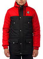 Зимова парка Ястребь Taras 2.0 Wind Proff червоно-чорна, фото 1