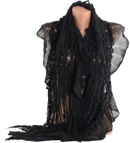 Тонкий полушерстяной шарф, TRAUM 2483-65, 150х35 см, цвет черный.