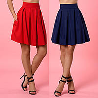 Короткая юбка колокол со встречными складками