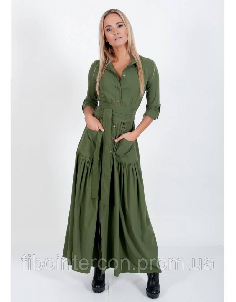 21b84fd105f911e Женское длинное зеленое еффектное платье ZEAN 5476. Коллекция ZEAN 2018 -  Интернет магазин