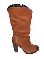 Кожаные сапоги женские зимние на каблуке Tanex 214 коричневые