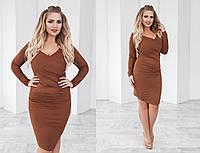 Стильное женское платье коричневое с замша большие размеры (10 цветов) ТК/-01083