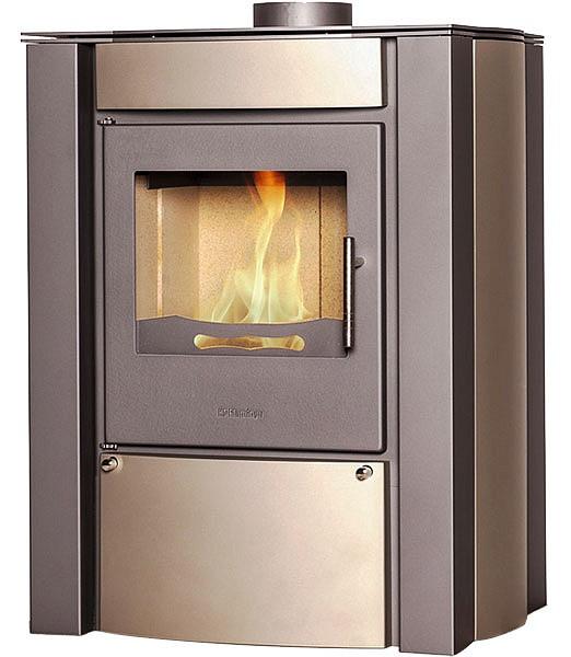Отопительная печь-камин длительного горения FLAMINGO AMOS (кремовый металлик)