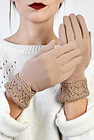 Женские перчатки трикотажные с манжетом Эклер бежевые размер 8,5