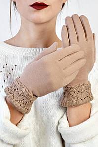 Женские перчатки трикотажные с манжетом Эклер бежевые размер 6,5