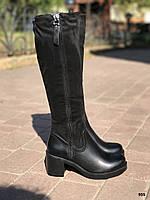 Осенние женские черные сапоги на небольшом каблуке 7 см эко-ЗАМШ+ ЭКО- кожа
