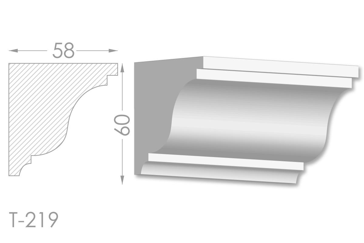 Карниз с гладким профилем, молдинг потолочный из гипса т-219