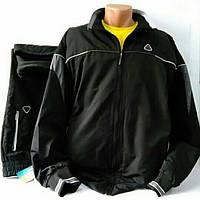 Спортивный прогулочный костюм батал, утепленный на флисе, чёрный, производство Soccer Турция, размер 56.