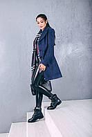 Пальто женское осеннее из шерсти Д 218  синий джинс