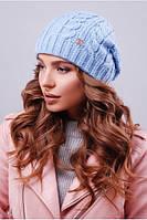 Зимняя женская вязаная голубая шапка 304