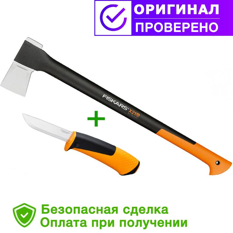 Топор-колун fiskars х21L + универсальный нож (1025436)