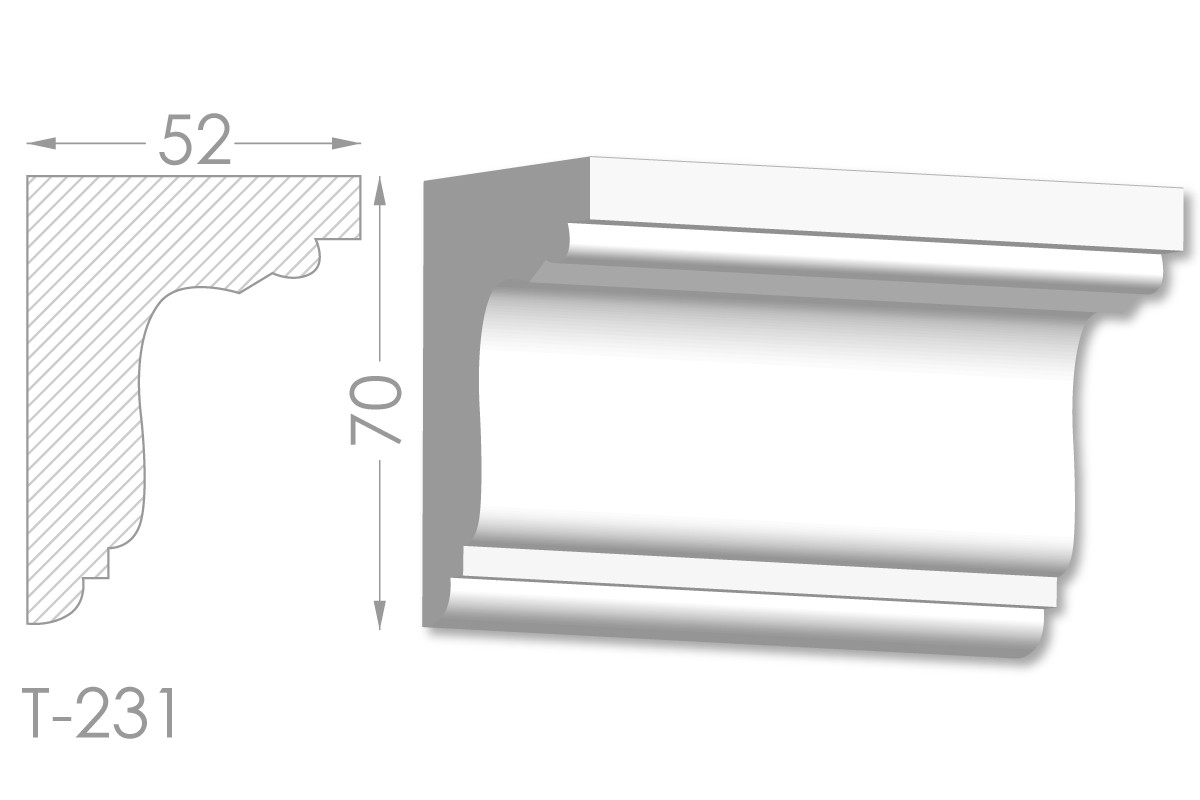 Карниз с гладким профилем, молдинг потолочный из гипса т-231