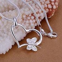 Кулон Сердечко і метелик стерлінгове срібло