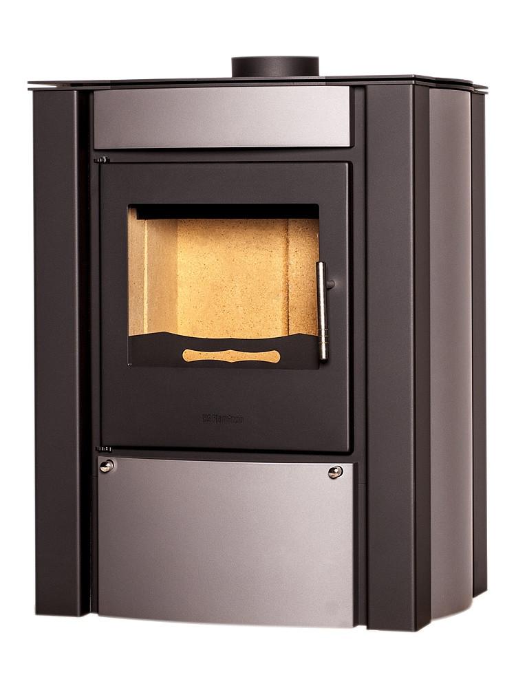 Отопительная печь-камин длительного горения FLAMINGO AMOS (серый)