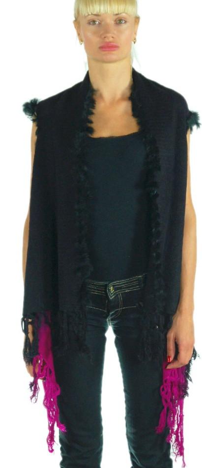 Шикарный жилет-палантин, Trаum 2486-30, 42-52 (140х70 см),цвет черный с фиолетовым.