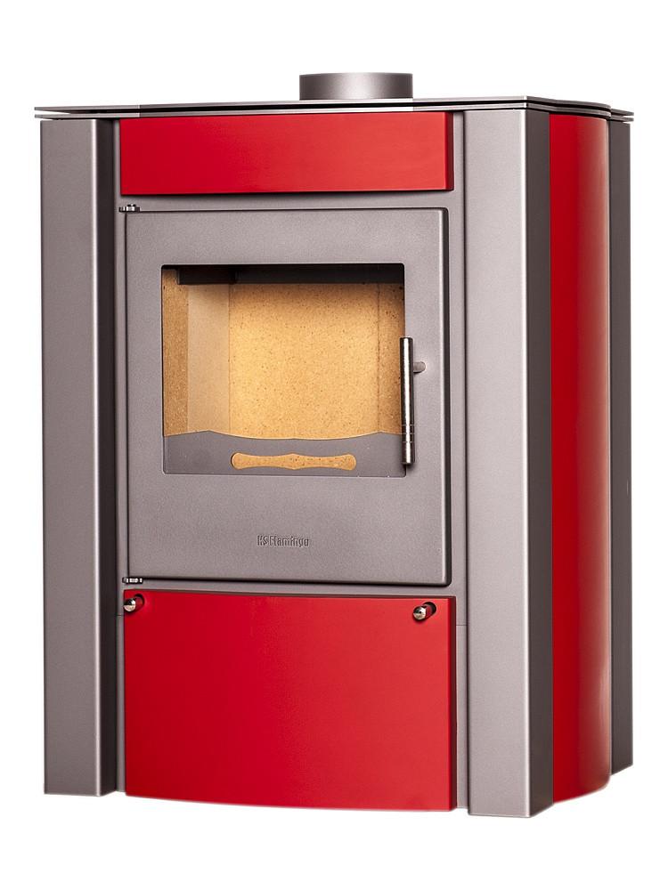 Отопительная печь-камин длительного горения FLAMINGO AMOS (красный)