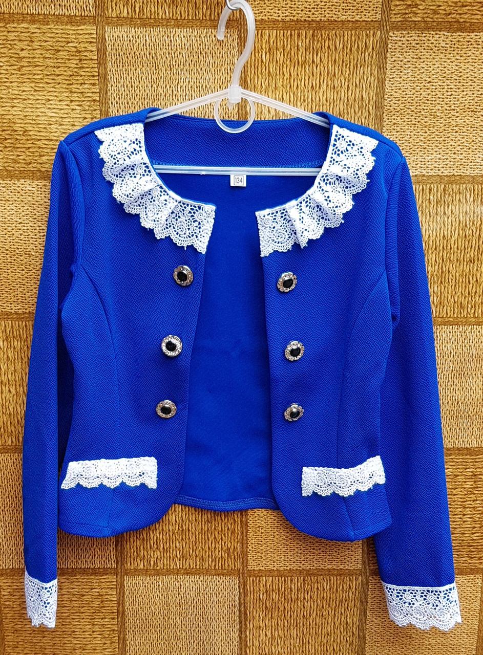 Нарядный пиджак-болеро для девочки р.134-152 электрик