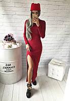 Теплое платье в пол под горло, с разрезом красный