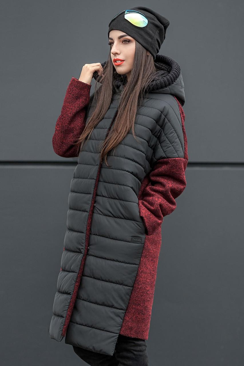 351f1476d388 Пальто женское утепленное Сьюзи (4 цвета), комбинированное женское пальто  от ...
