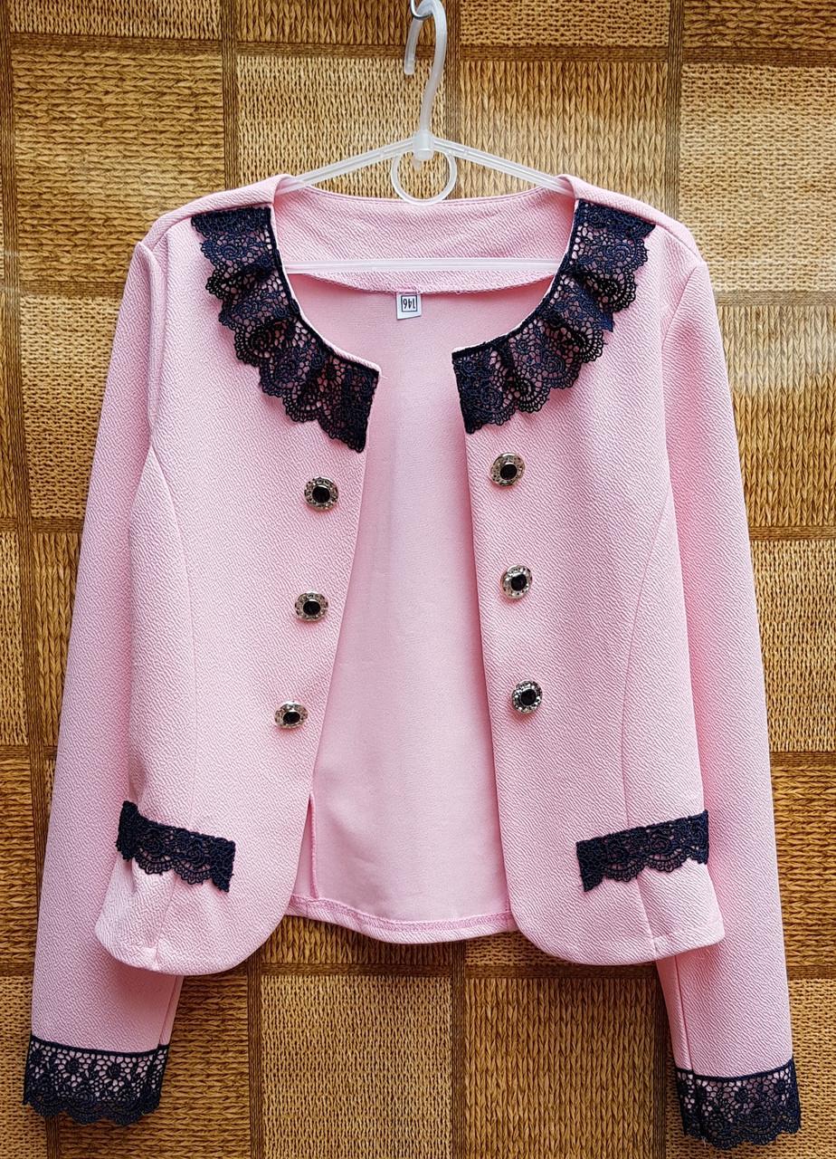 Нарядный пиджак-болеро для девочки р.134-152 розовый