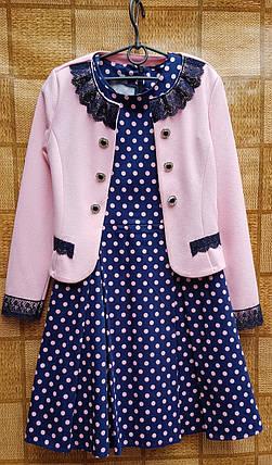 Нарядный пиджак-болеро для девочки р.134-152 розовый, фото 2