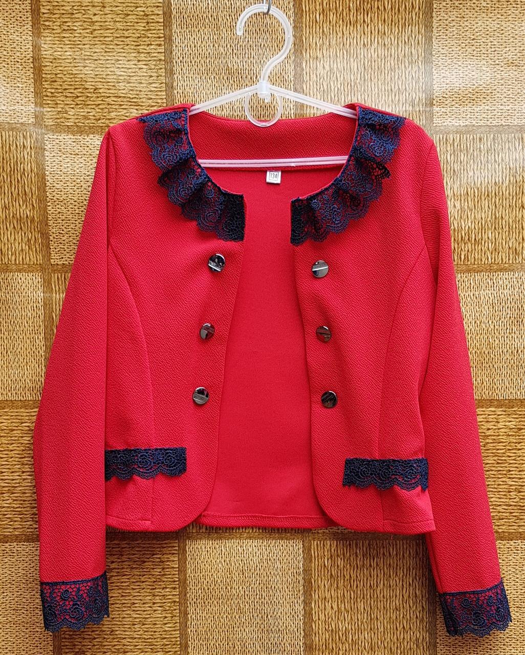 Нарядный пиджак-болеро для девочки р.134-152 красный