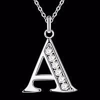 """Кулон подвеска """"буква А"""" стерлинговое серебро + цепочка"""