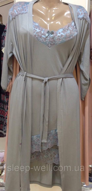 Набор халат з сорочкою сірого кольору Ніколетта