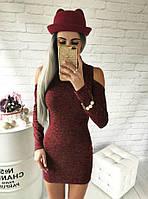 Мини платье из ангоры меланж с вырезом на плече бордо