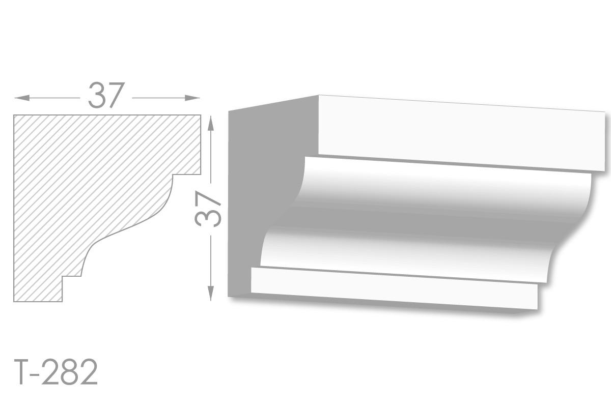 Карниз с гладким профилем, молдинг потолочный из гипса т-282