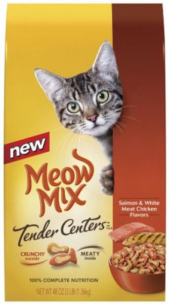 Корм для кошек с лососем и курицей Meow Mix Tender Centers Salmon and White Meat Chicken