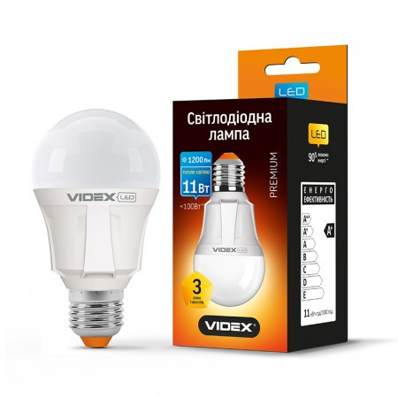 LED лампа  11W E27 3000K Videx a60