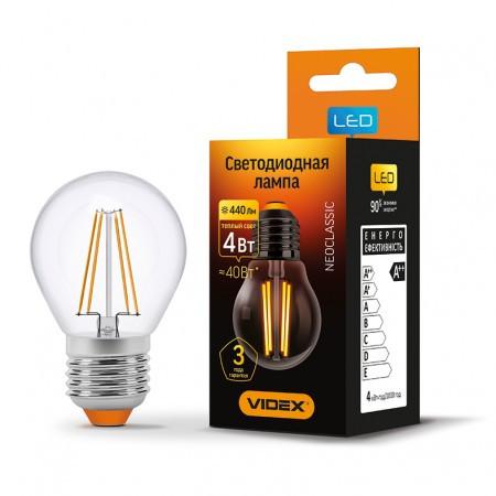LED лампа 4W E27 3000K Videx G45F (23686)