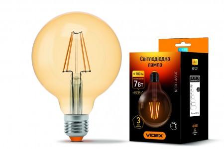 LED лампа диммируемая  7W E27 2200K бронза Videx G95FAD