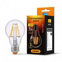 Led лампа 7W 4100K Е27 филаментная VIDEX Filament A60