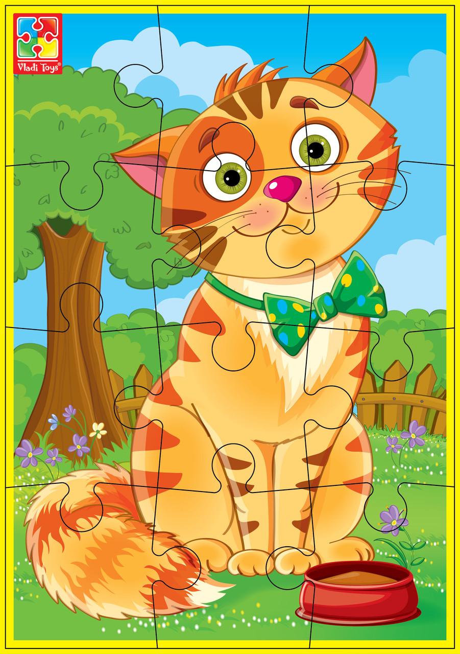 М'які пазли Vladi Toys А5 Улюбленці Кіт 12 елементів (VT1103-52)