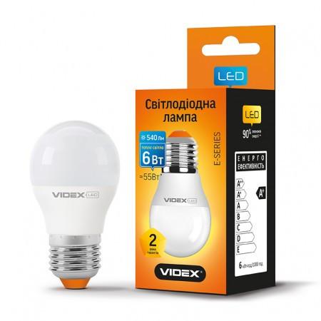 Led лампа VIDEX G45 6W 3000K (цвет свечения теплый) (23890) 55W