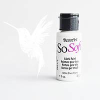 Акриловая краска по ткани белая СоСофт ДекоАрт, SoSoft DecoArt White, 30мл. DSS01