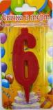 Свеча - цифра 6, красная с блестками