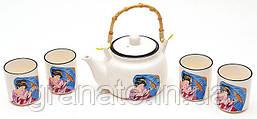 Японский чайный набор:чайник 675мл и 4 чашки 150мл
