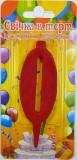 Свеча - цифра 0, красная 7 см