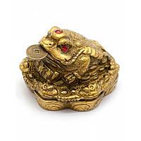 Статуэтка Жаба каменная крошка желтая (4,5х4,5х3,5 см)