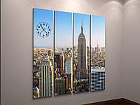 Картина часы холст мегаполис