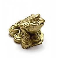 Статуэтка Жаба каменная крошка желтая (4х4х3 см)