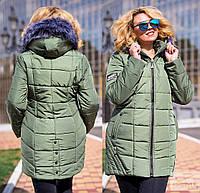 Женская куртка на синтепоне 300, с мехом