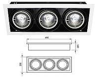 Корпус для встроенных трековых светильников (без лампы PAR-30) 3-местный 5-103L
